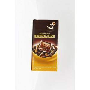 Excellente chocolat au lait,raisins secs et fragments de amandes