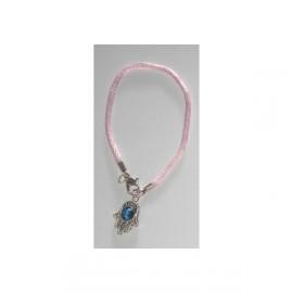 Hamsa bracelet with eye and pink cord