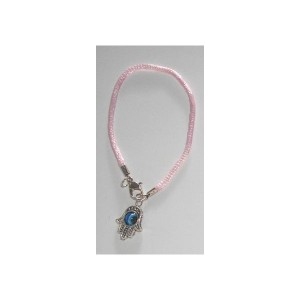 Bracelet Hamsa Oeil cordon Rose