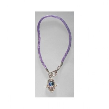 Hamsa bracelet with eye and purple cord