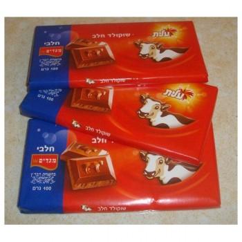 Lot de 3 tablettes de Chocolat au lait Casher