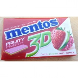 Chewing gum strawberry apple raspberry 3 D without sugar