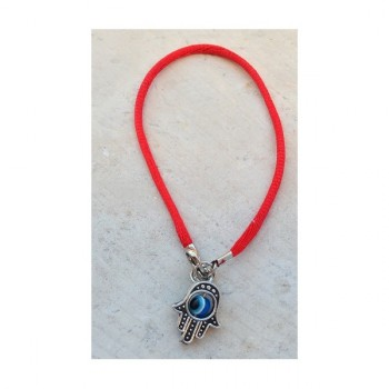 Red bracelet with Hamsa and eye against the evil eye